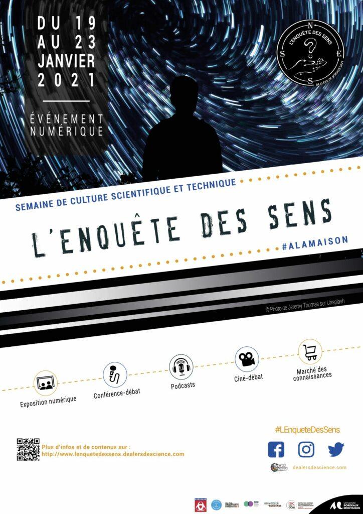 Affiche générale de l'événement avec un homme regardant le ciel. Le titre, des pictogrammes pour les temps-forts et les partenaires.